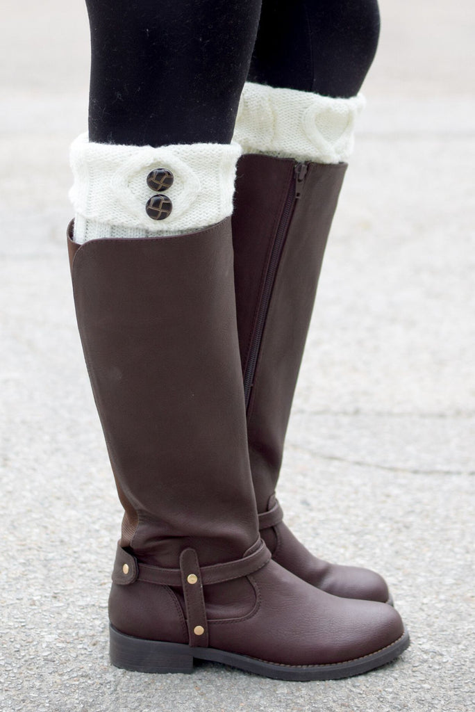 Cream Tortoise Shell Two Button Boot Cuffs