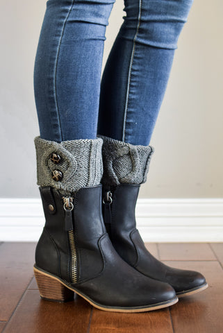 Grey Two Button Boot Cuffs