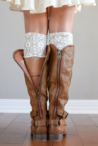 Almond Two-Layer Reversible Lace Boot Cuffs