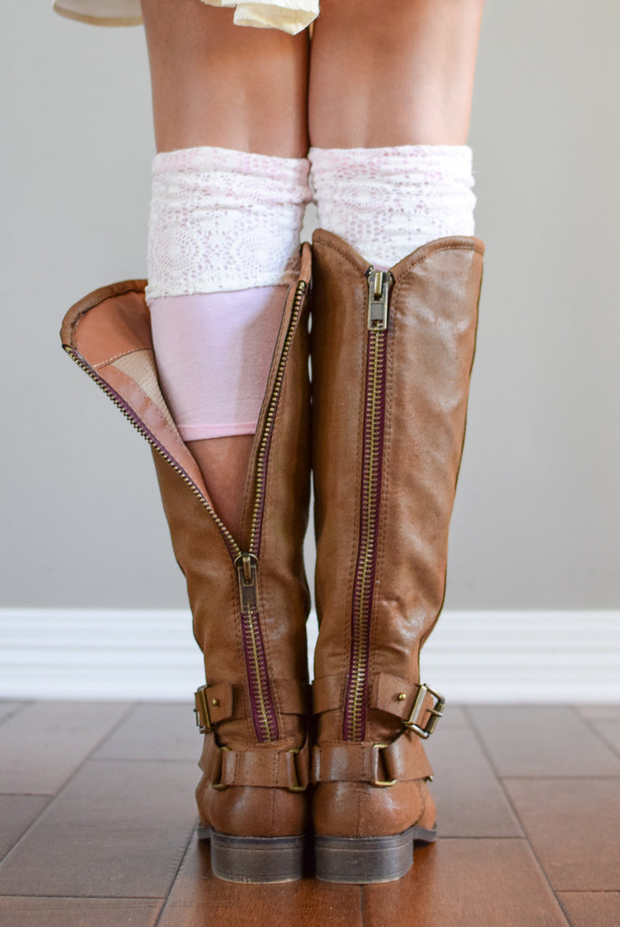 Pink Two-Layer Reversible Lace Boot Cuffs