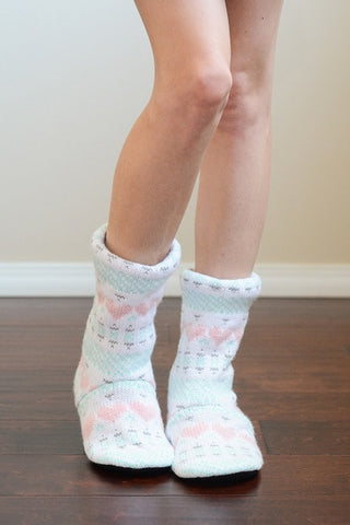 Heart Design Cable Knit Lounge Socks (NEW)