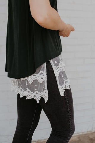 Plus Size White Pointed Lace Top Extender