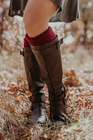 Boot Cuffs with Silky Feather Pattern Topper  ((NEW))