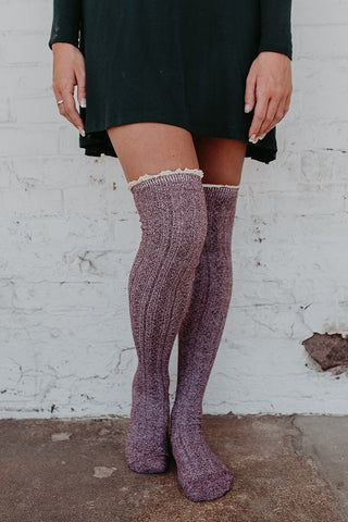 Antique Lace Marbled Boot Socks