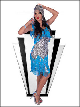 Turquoise/Gold/Silver sequin w/fringe Flapper Dress