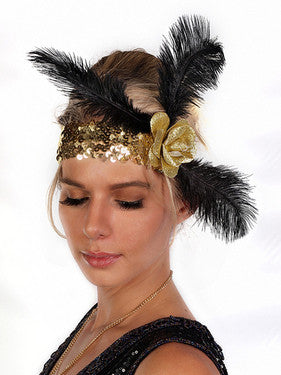 Rose & Feather Flapper Headband