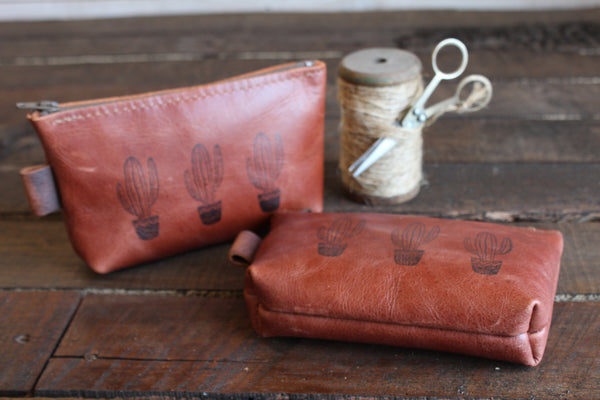 Leather Printed Pouch Bundle (Cognac Only)