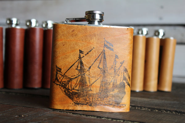 Printed Leather Flask Bundle (Cognac Only)