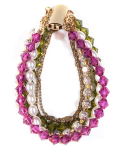 Aura - multi-strand bracelet with Swarovski crystals & semi precious stones with 18ct gold plated brass clasp