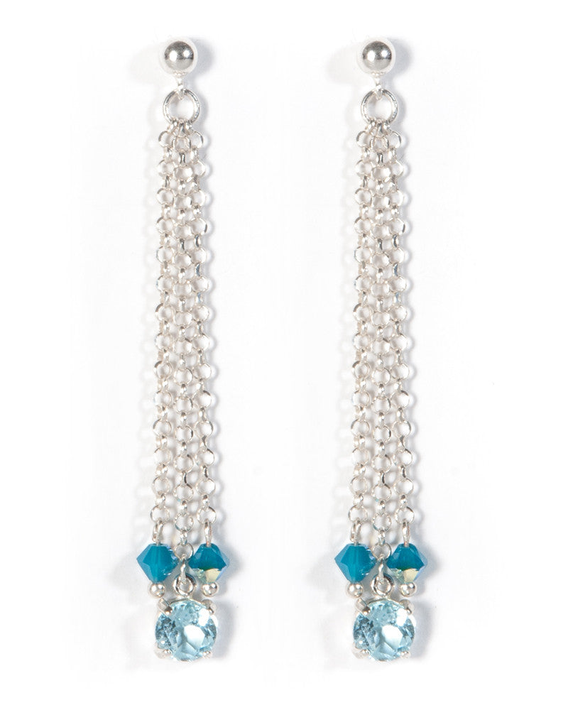 Handcrafted multi strand Blue Topaz earrings in sterling silver with Swarovski crystal detail