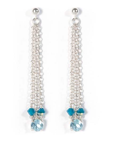 KASHMIR  Multi strand Blue Topaz earrings in sterling silver with Swarovski crystal detail