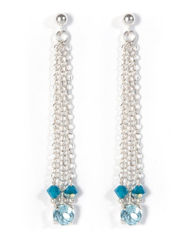 Blue Topaz Silver Strand Earrings