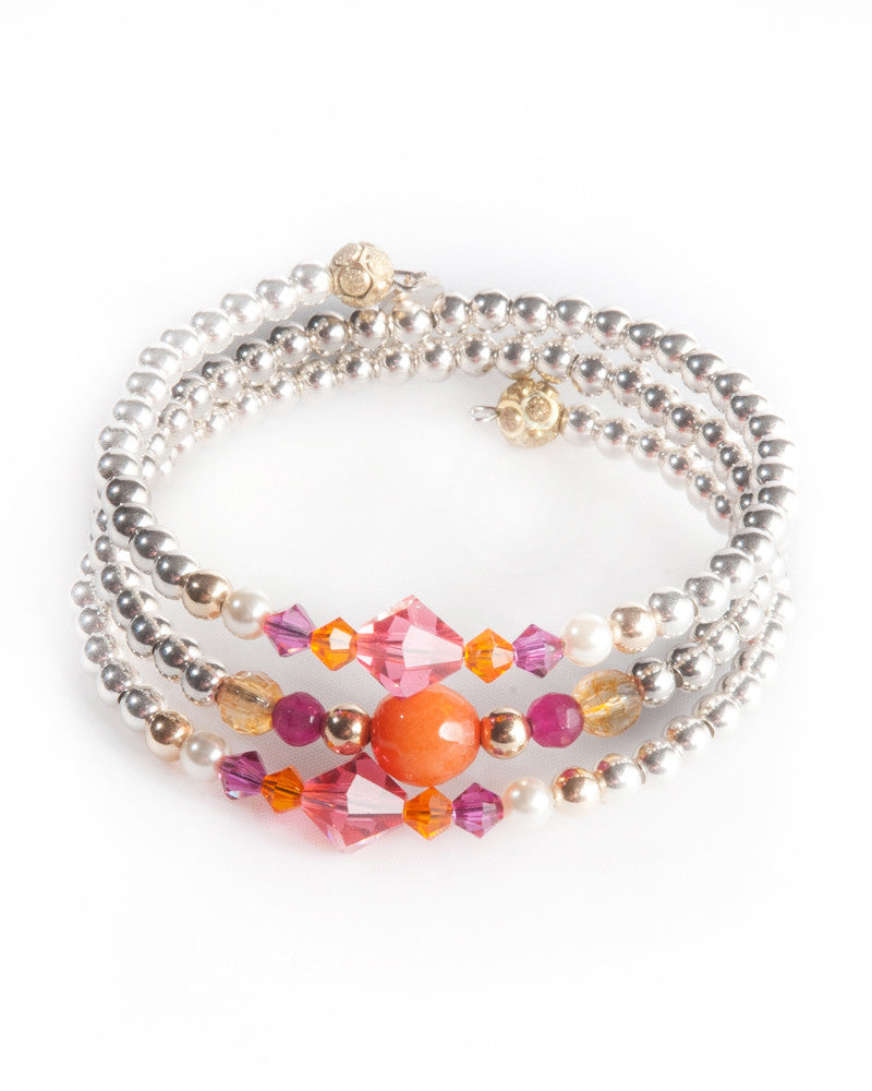 JAIPUR -  Multi strand bracelet with Swarovski crystals & pearls, semi precious stones, 925 sterling silver balls & gold filled balls