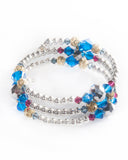 Unique multi strand bracelet with Swarovski crystals & 925 sterling silver balls