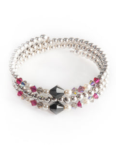 UDAIPUR Multi strand bracelet with Swarovski crystals & pearls, semi precious stones, 925 sterling silver balls,
