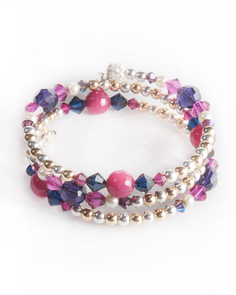 SHAMBHALA Multi strand bracelet with Swarovski crystals and semi precious stones,