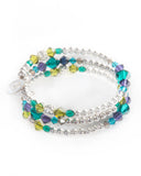Unique multi strand bracelet with Swarovski crystals, 925 sterling silver balls & silver tone metal beads