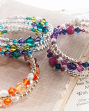 Unique multi strand bracelet with Swarovski crystals, semi precious stones, 925 sterling silver balls, gold filled balls, glass & silver tone metal beads