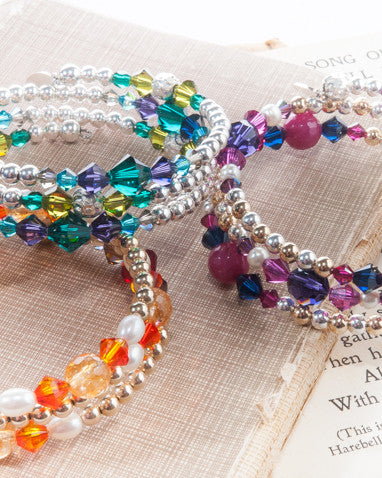 SHAMBHALA Multi strand bracelet with Swarovski crystals and semi precious stones