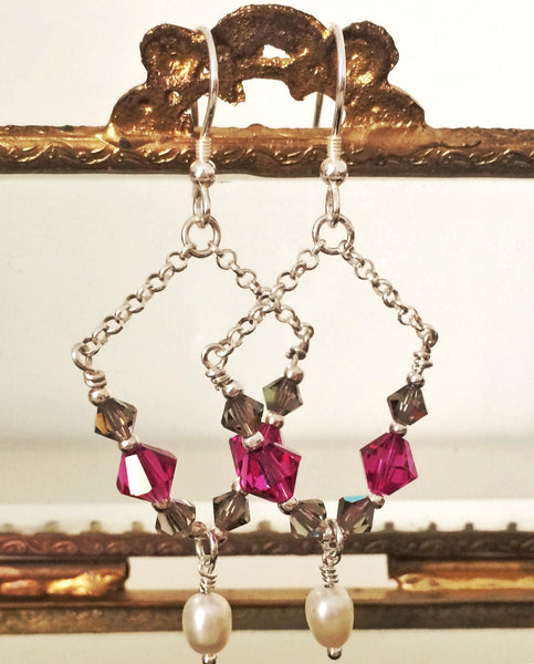 PALOLEM Swarovski Crystal Chain Dangle Earrings