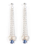 Unique hand crafted multi strand Iolite earrings in sterling silver with freshwater cultured pearl detail