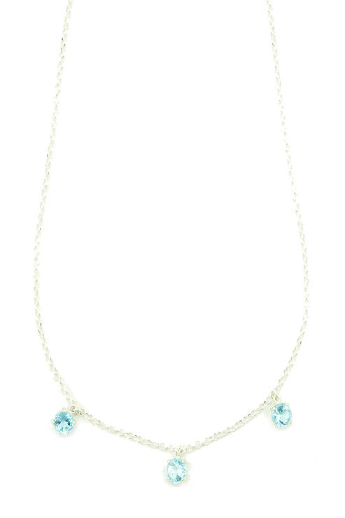 Unique layered sterling silver necklace with Blue Topaz gemstones