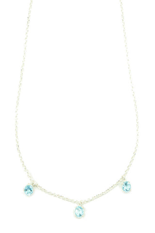 Diamond Cut Silver Necklace with Blue Topaz