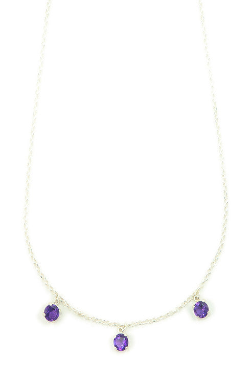 Unique layered sterling silver necklace with Amethyst gemstones