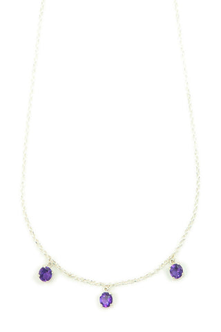Diamond Cut Silver Necklace with Amethyst