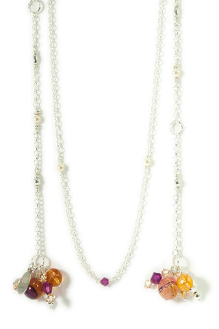 ANJUNA -  layered sterling silver necklace with gemstones and Swarovski crystals