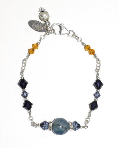 Agate & Swarovski Crystal Silver Stacking Bracelet in Ocean Blue