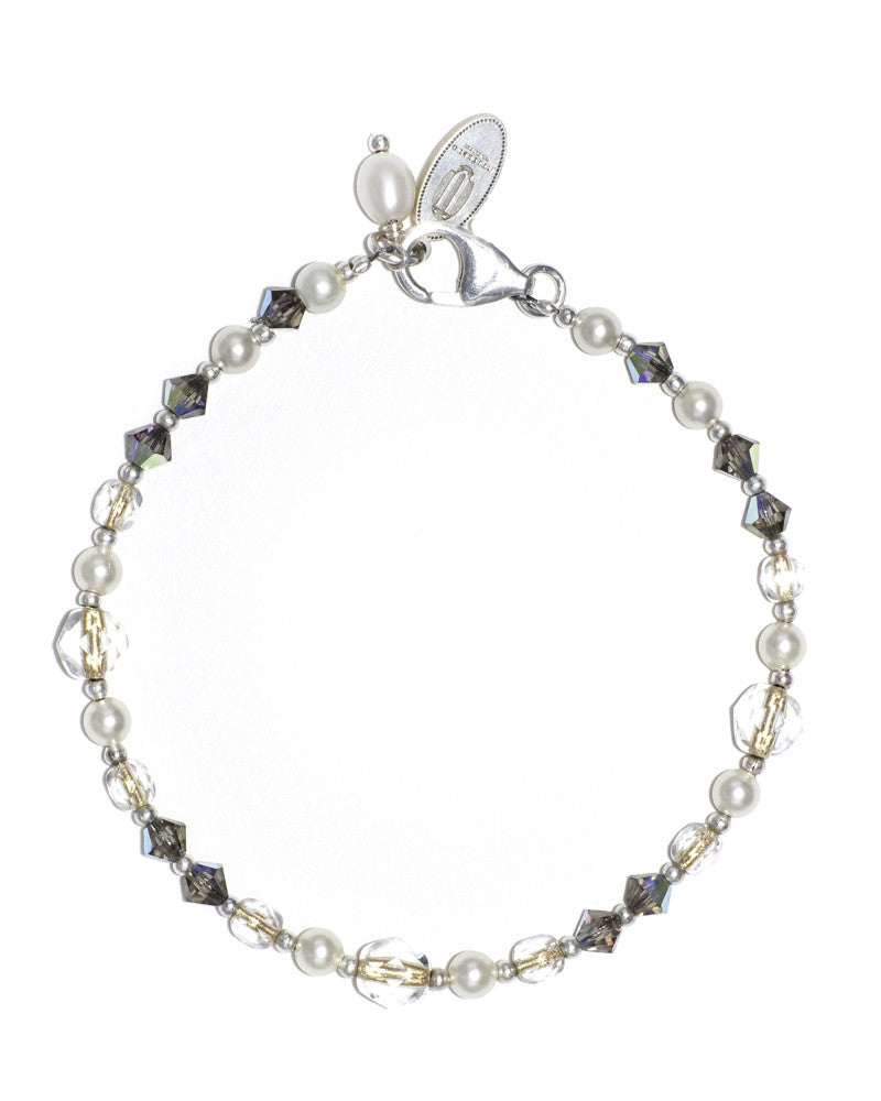 Unique silver stacking bracelet with Swarovski crystals
