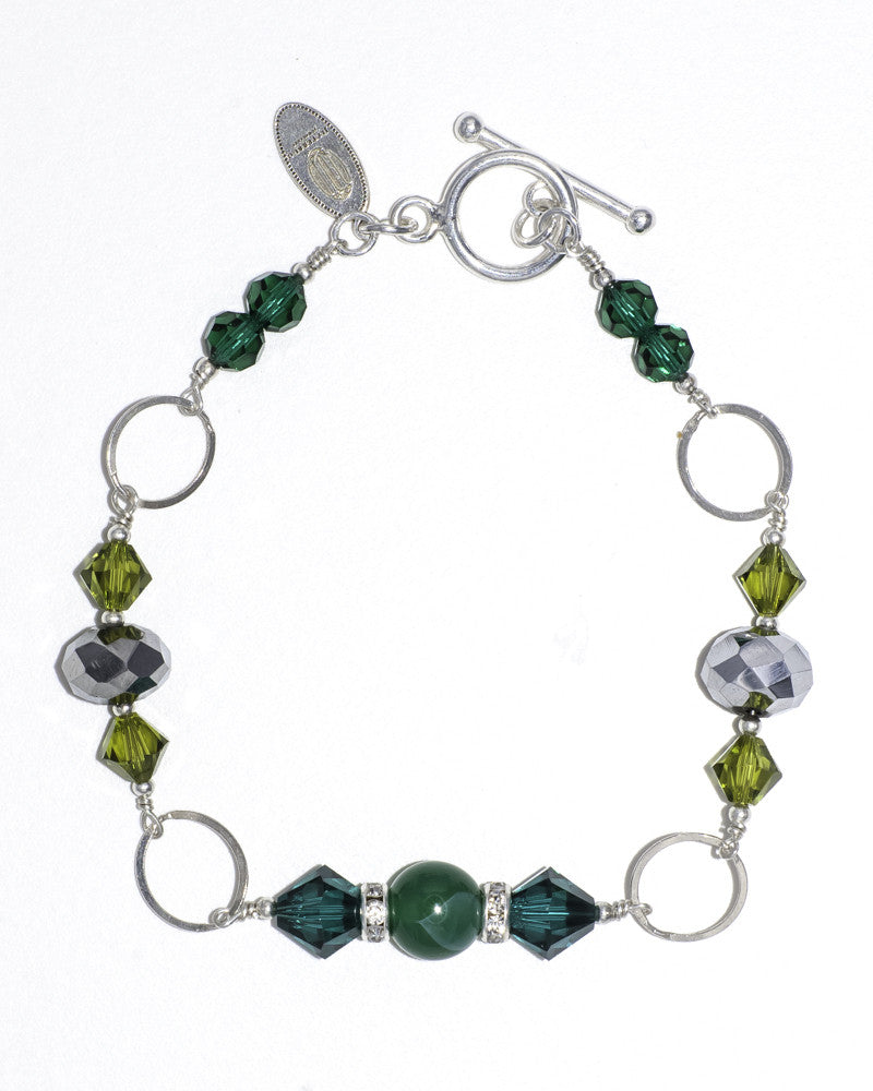 Unique silver stacking bracelet with Swarovski crystals & semi precious stones