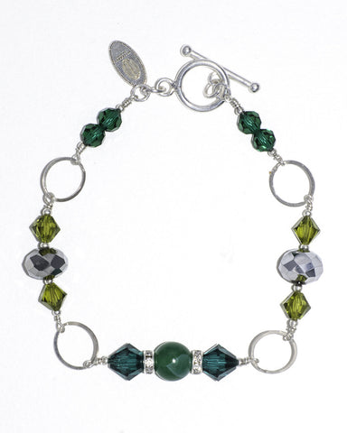 Agate & Swarovski Crystal Silver Stacking Bracelet in Emerald Green
