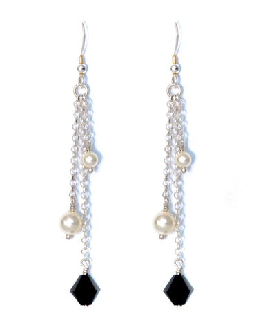 MAHAL Swarovski Crystal & Pearl Multi Drop Earrings