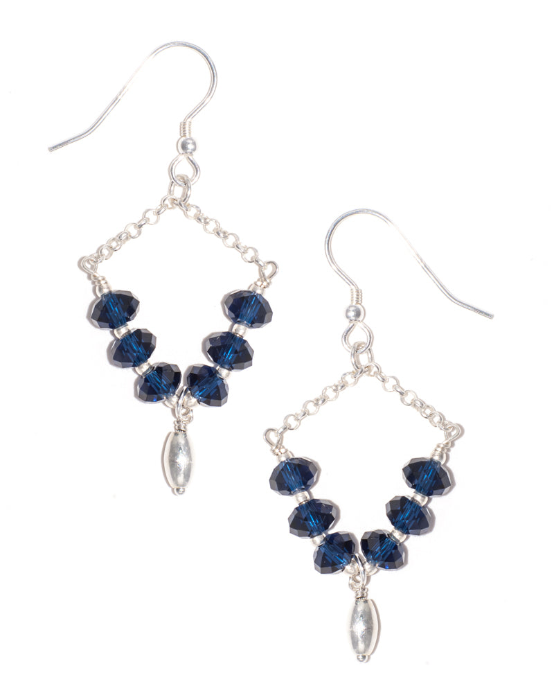 ATLANTIC - Swarovski Crystal Chain Dangle Earrings in Midnight Blue