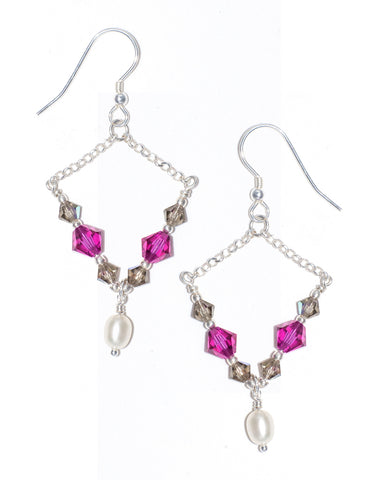 PALOLEM Swarovski Crystal Chain Dangle Earrings in Hot Pink