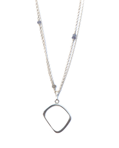 URSULA Sterling Silver Pendant with Tanzanite & Labradorite