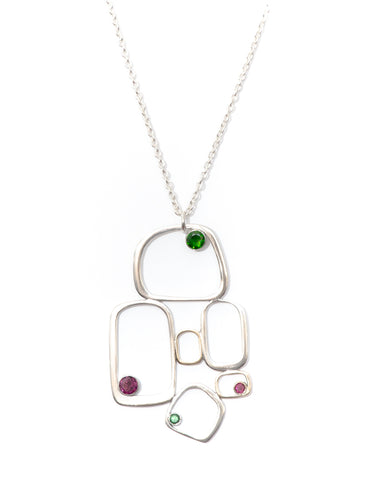 BIBA - Multi gemstone sterling silver and gold pendant
