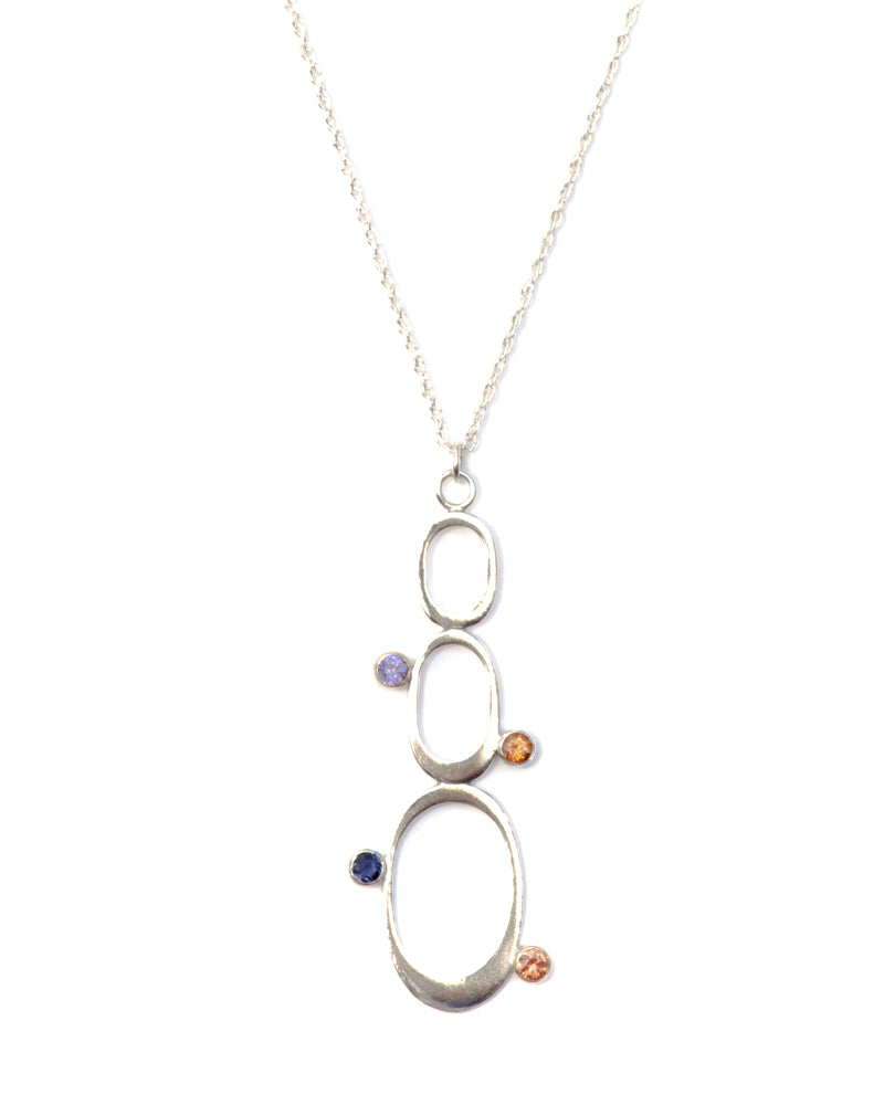 MARIANNE Sapphire, Iolite and Garnet Sterling Silver Pendant