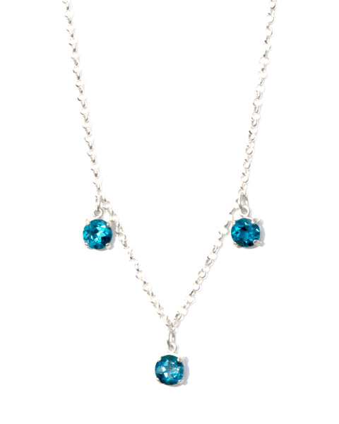 PHI PHI London Topaz Diamond Cut Silver Necklace