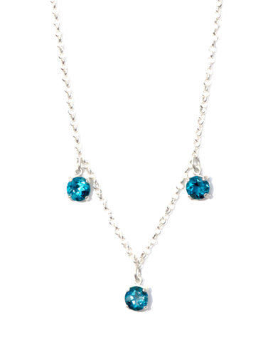 London Topaz Diamond Cut Silver Necklace