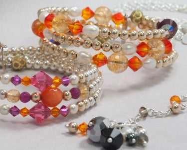 SARI Multi strand bracelet with Swarovski crystals, freshwater cultured pearls, semi precious stones & gold filled balls