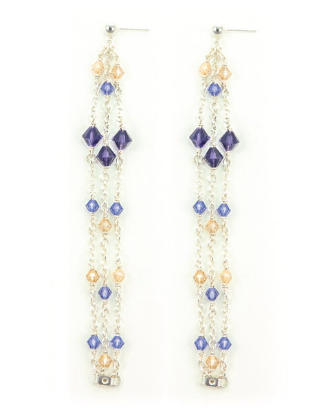 MARJORELLE Sterling Silver Waterfall Earrings with Swarovski Crystals