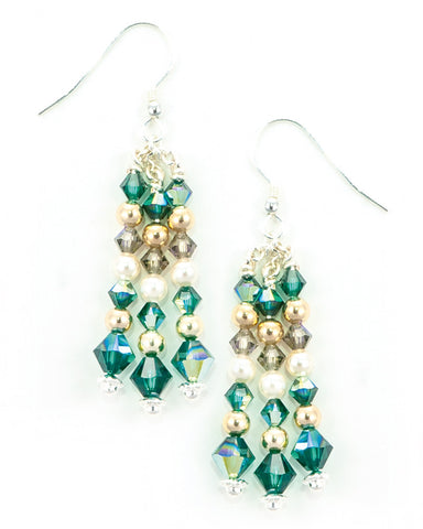 CASUARINA - Silver Drop Earrings with Vintage & Swarovski Crystals