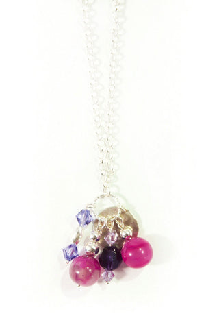 Silver Cluster Gemstone Necklace in Purple Velvet