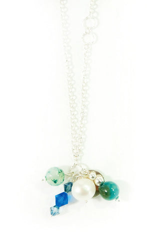 Silver Cluster Gemstone Necklace in Ocean Green