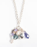 Unique layered sterling silver necklace with gemstones and Swarovski crystals