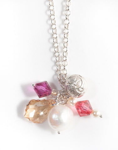 Unique layered sterling silver necklace with gemstones & Swarovski crystals  - Jitterbug Jewellery