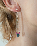 Unique multi strand gemstone earrings in sterling silver - Jitterbug Jewellery